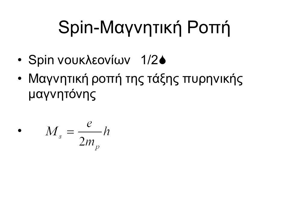 Spin-Μαγνητική Ροπή Spin νουκλεονίων 1/2  Μαγνητική ροπή της τάξης πυρηνικής μαγνητόνης