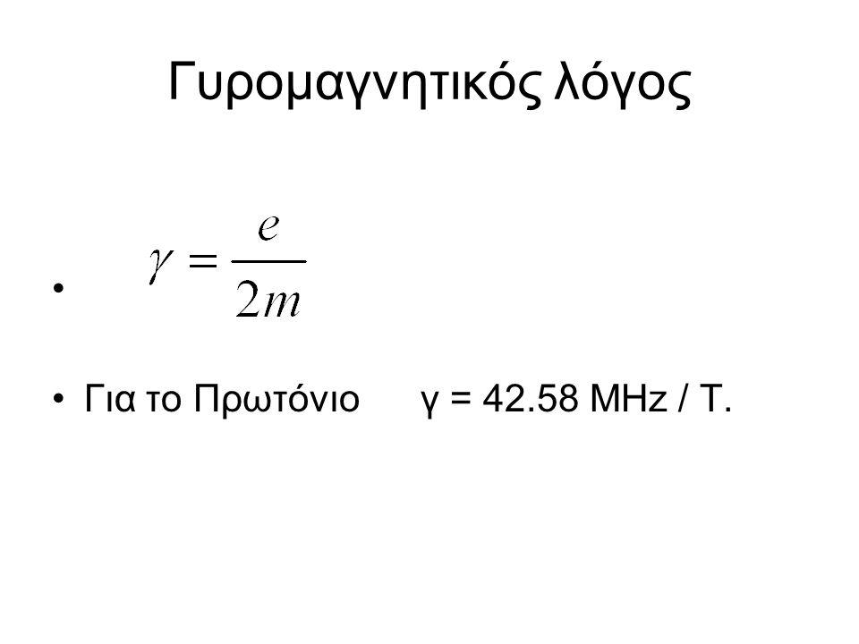 Γυρομαγνητικός λόγος Για το Πρωτόνιο γ = 42.58 MHz / T.