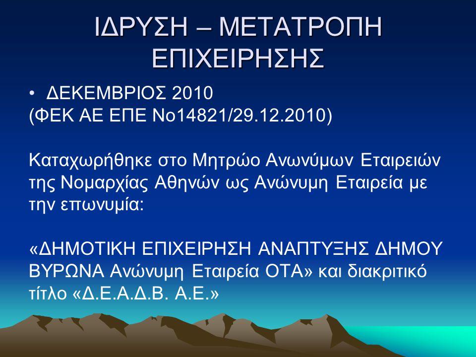 ΙΔΡΥΣΗ – ΜΕΤΑΤΡΟΠΗ ΕΠΙΧΕΙΡΗΣΗΣ ΔΕΚΕΜΒΡΙΟΣ 2010 (ΦΕΚ ΑΕ ΕΠΕ Νο14821/29.12.2010) Καταχωρήθηκε στο Μητρώο Ανωνύμων Εταιρειών της Νομαρχίας Αθηνών ως Ανών