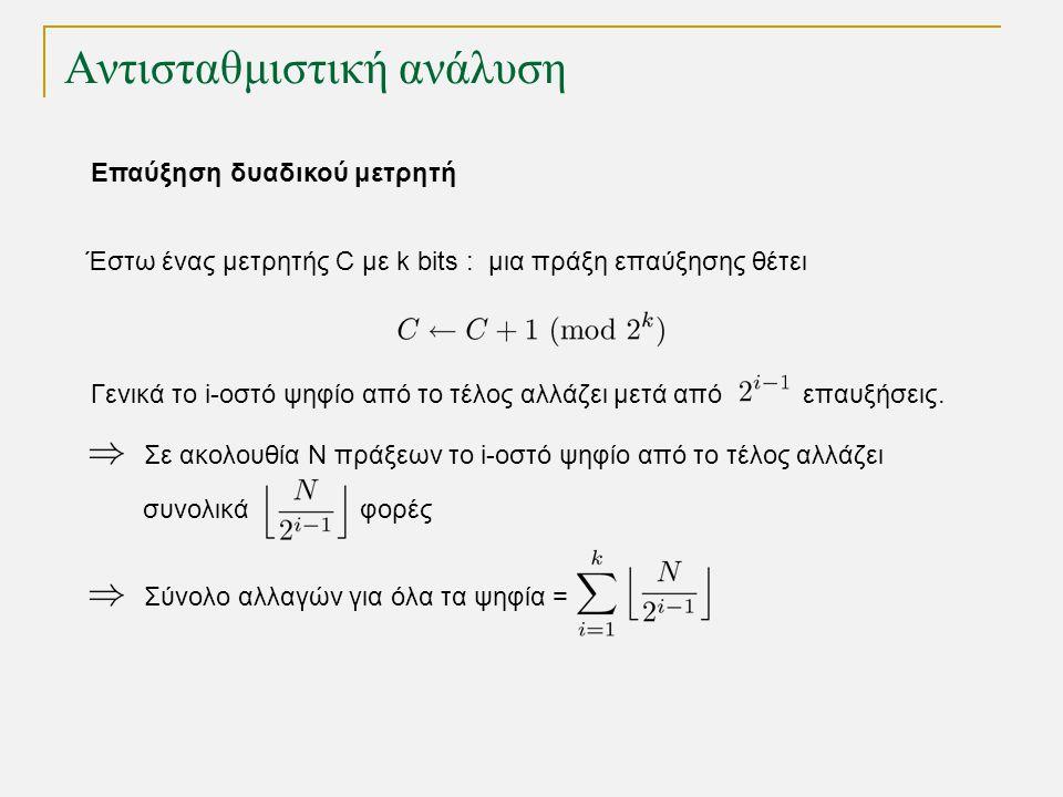 Αντισταθμιστική ανάλυση Έστω ένας μετρητής C με k bits : μια πράξη επαύξησης θέτει Γενικά το i-οστό ψηφίο από το τέλος αλλάζει μετά από επαυξήσεις.
