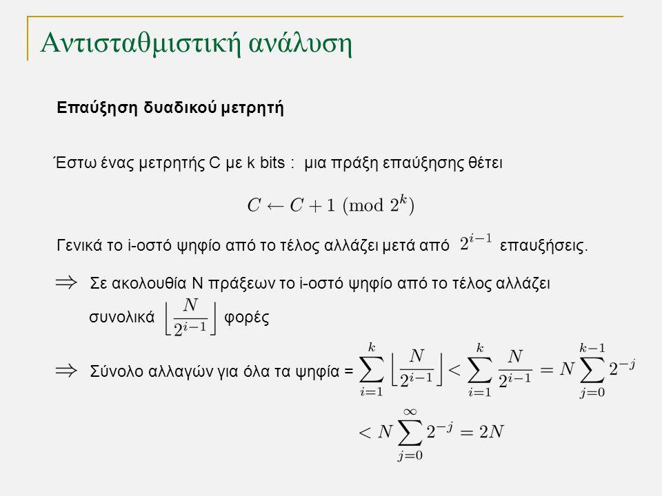 Αντισταθμιστική ανάλυση Έστω ένας μετρητής C με k bits : μια πράξη επαύξησης θέτει Γενικά το i-οστό ψηφίο από το τέλος αλλάζει μετά από επαυξήσεις. Σε