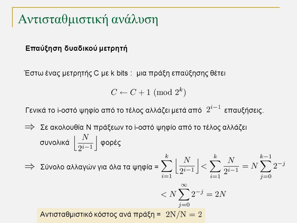 Αντισταθμιστική ανάλυση Επαύξηση δυαδικού μετρητή Έστω ένας μετρητής C με k bits : μια πράξη επαύξησης θέτει Γενικά το i-οστό ψηφίο από το τέλος αλλάζει μετά από επαυξήσεις.