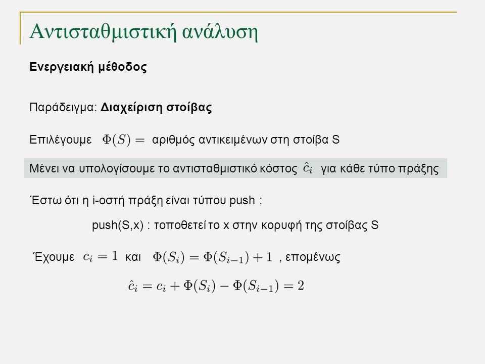 Αντισταθμιστική ανάλυση Παράδειγμα: Διαχείριση στοίβας Επιλέγουμε αριθμός αντικειμένων στη στοίβα S push(S,x) : τοποθετεί το x στην κορυφή της στοίβας S Μένει να υπολογίσουμε το αντισταθμιστικό κόστος για κάθε τύπο πράξης Έστω ότι η i-οστή πράξη είναι τύπου push : Έχουμε και, επομένως Ενεργειακή μέθοδος