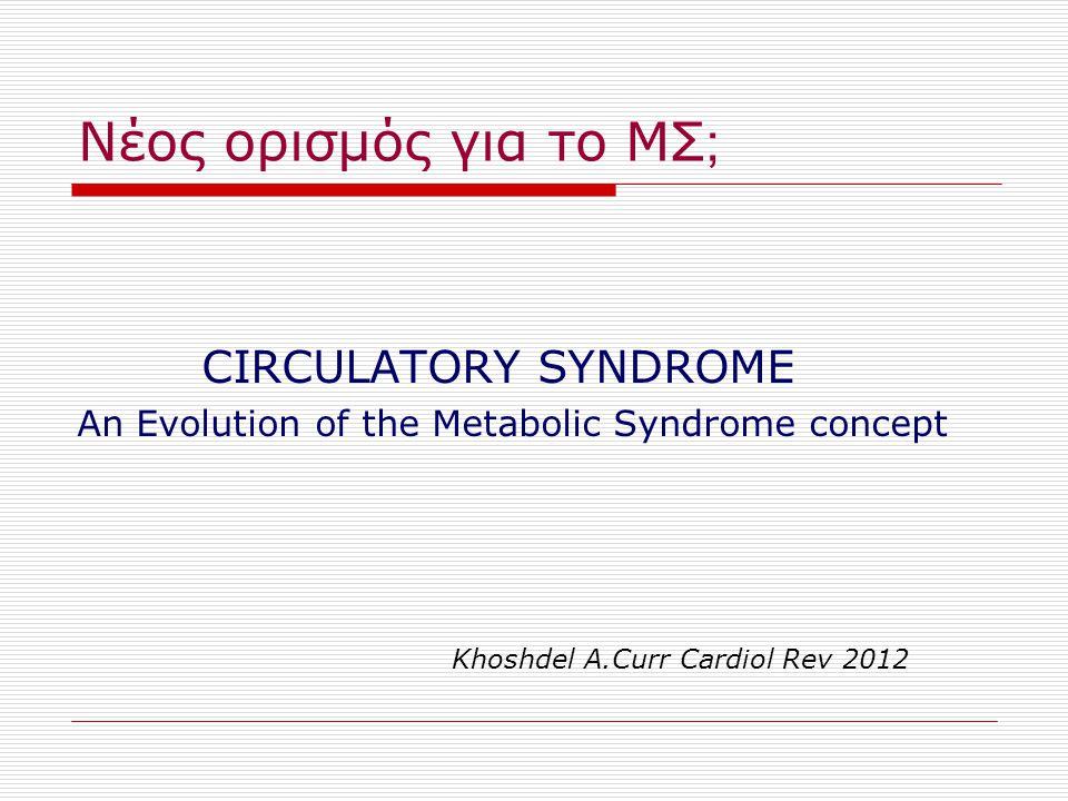 Νέος ορισμός για το ΜΣ ; CIRCULATORY SYNDROME An Evolution of the Metabolic Syndrome concept Khoshdel A.Curr Cardiol Rev 2012