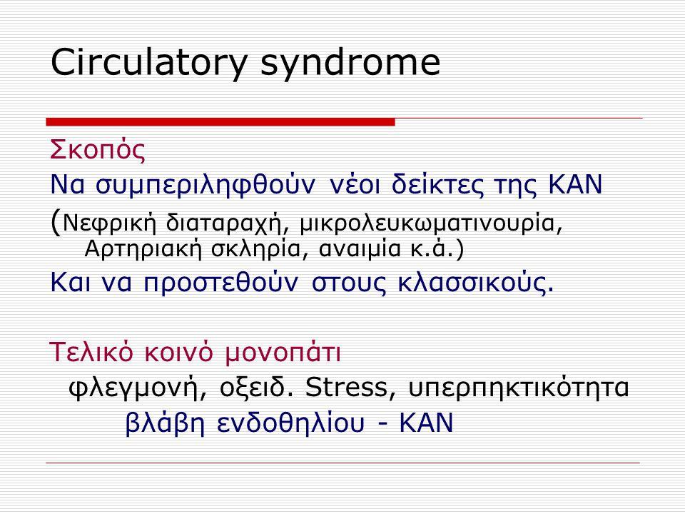 Circulatory syndrome Σκοπός Να συμπεριληφθούν νέοι δείκτες της ΚΑΝ ( Νεφρική διαταραχή, μικρολευκωματινουρία, Αρτηριακή σκληρία, αναιμία κ.ά.) Και να προστεθούν στους κλασσικούς.