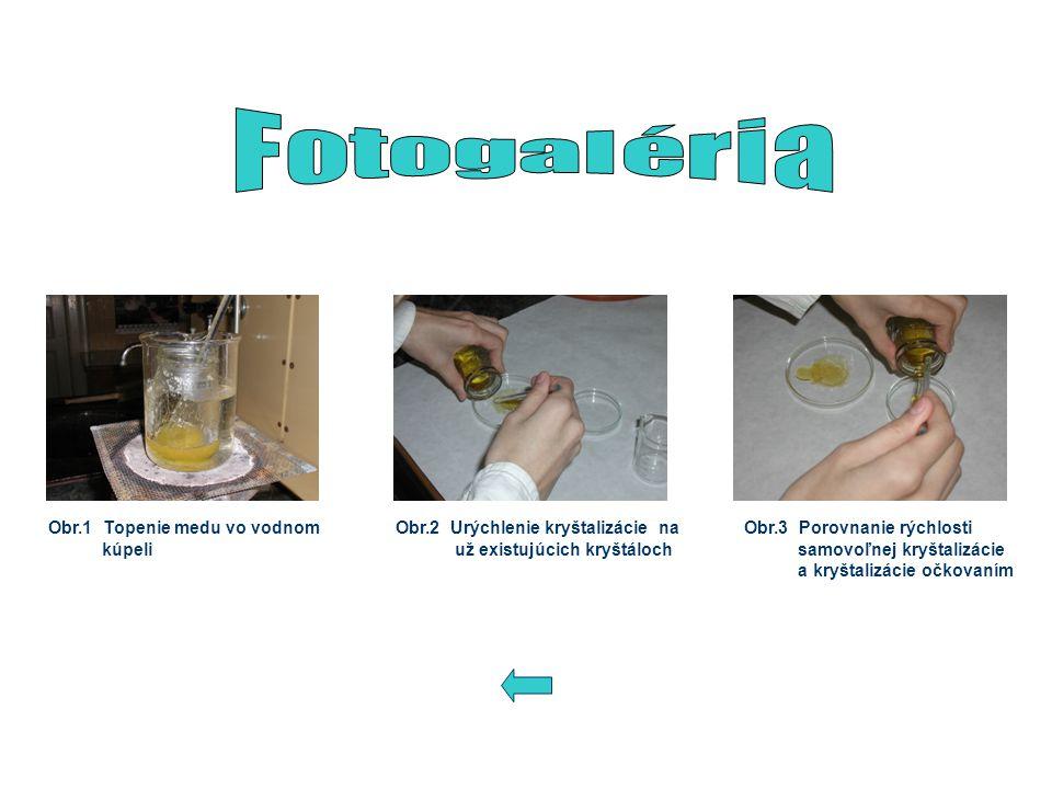 Obr.1 Topenie medu vo vodnom kúpeli Obr.2 Urýchlenie kryštalizácie na už existujúcich kryštáloch Obr.3 Porovnanie rýchlosti samovoľnej kryštalizácie a