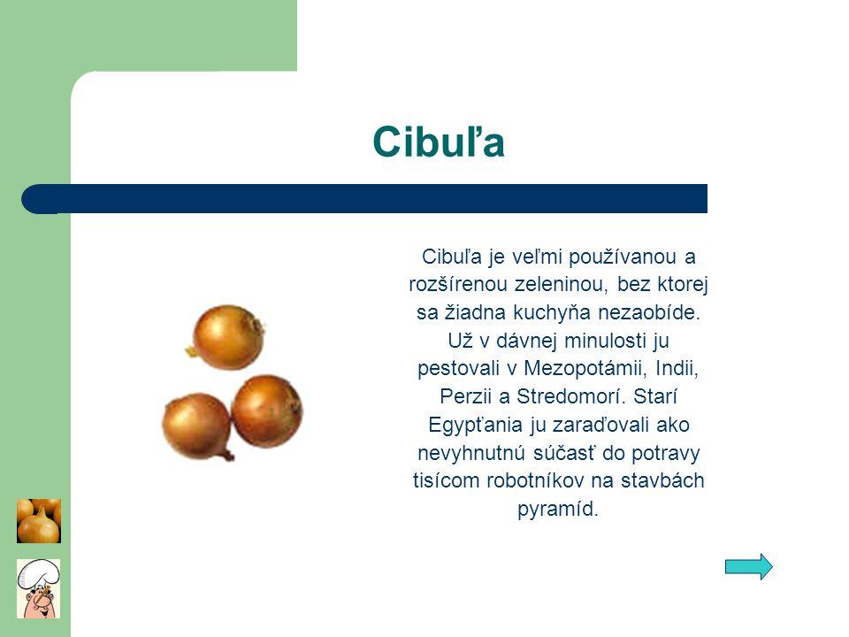 Cibuľa Cibuľa je veľmi používanou a rozšírenou zeleninou, bez ktorej sa žiadna kuchyňa nezaobíde. Už v dávnej minulosti ju pestovali v Mezopotámii, In