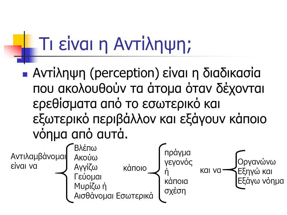 Τι είναι η Αντίληψη; Αντίληψη (perception) είναι η διαδικασία που ακολουθούν τα άτομα όταν δέχονται ερεθίσματα από το εσωτερικό και εξωτερικό περιβάλλ