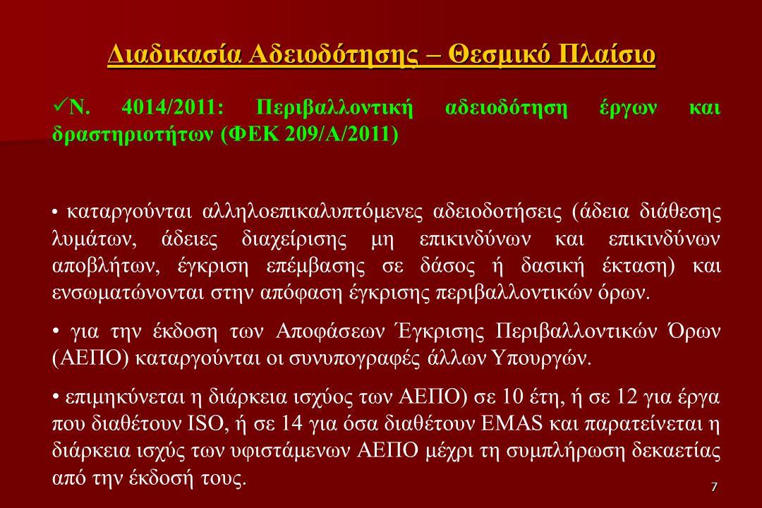 7 N. 4014/2011: Περιβαλλοντική αδειοδότηση έργων και δραστηριοτήτων (ΦΕΚ 209/Α/2011) καταργούνται αλληλοεπικαλυπτόμενες αδειοδοτήσεις (άδεια διάθεσης