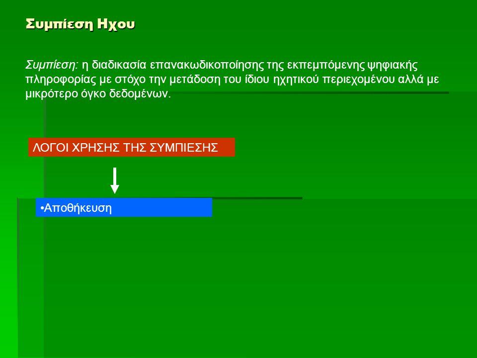 Συμπίεση Ηχου Συμπίεση: η διαδικασία επανακωδικοποίησης της εκπεμπόμενης ψηφιακής πληροφορίας με στόχο την μετάδοση του ίδιου ηχητικού περιεχομένου αλ