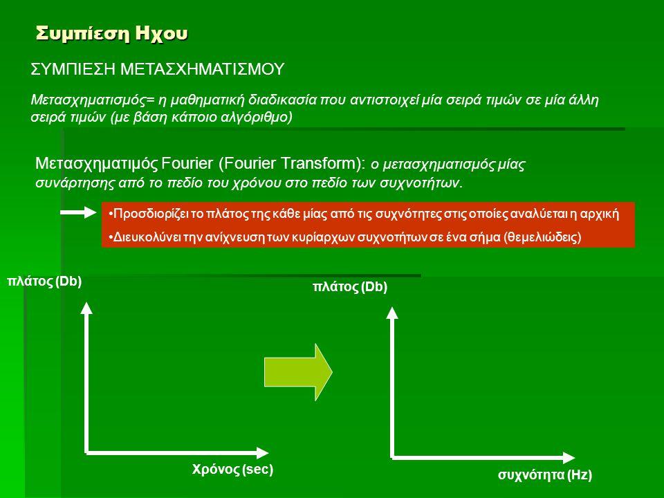 Συμπίεση Ηχου ΣΥΜΠΙΕΣΗ ΜΕΤΑΣΧΗΜΑΤΙΣΜΟΥ Μετασχηματισμός= η μαθηματική διαδικασία που αντιστοιχεί μία σειρά τιμών σε μία άλλη σειρά τιμών (με βάση κάποι