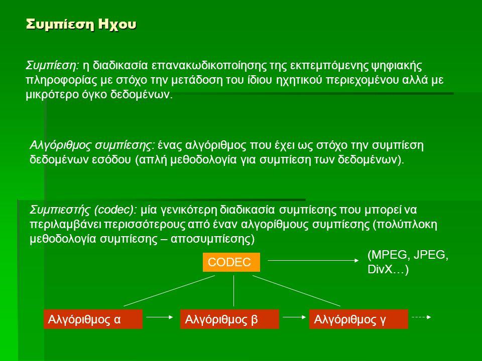 Συμπίεση Ηχου ΣΥΜΠΙΕΣΗ ΜΕΤΑΣΧΗΜΑΤΙΣΜΟΥ Μετασχηματισμός= η μαθηματική διαδικασία που αντιστοιχεί μία σειρά τιμών σε μία άλλη σειρά τιμών (με βάση κάποιο αλγόριθμο) Μετασχηματιμός Fourier (Fourier Transform): o μετασχηματισμός μίας συνάρτησης από το πεδίο του χρόνου στο πεδίο των συχνοτήτων.