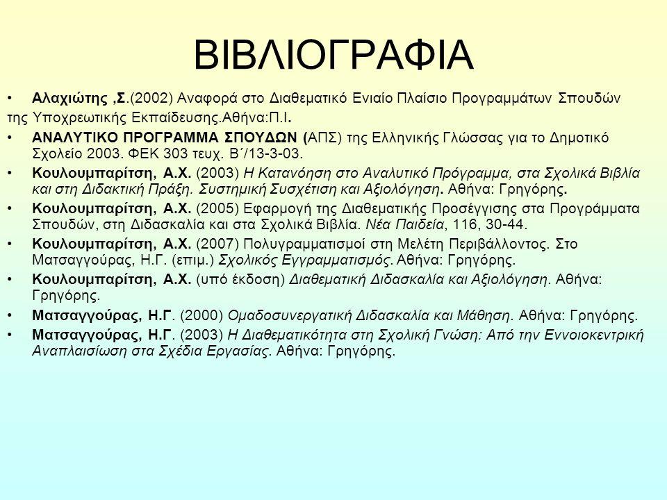 ΒΙΒΛΙΟΓΡΑΦΙΑ Αλαχιώτης,Σ.(2002) Αναφορά στο Διαθεματικό Ενιαίο Πλαίσιο Προγραμμάτων Σπουδών της Υποχρεωτικής Εκπαίδευσης.Αθήνα:Π.Ι. ΑΝΑΛΥΤΙΚΟ ΠΡΟΓΡΑΜΜ