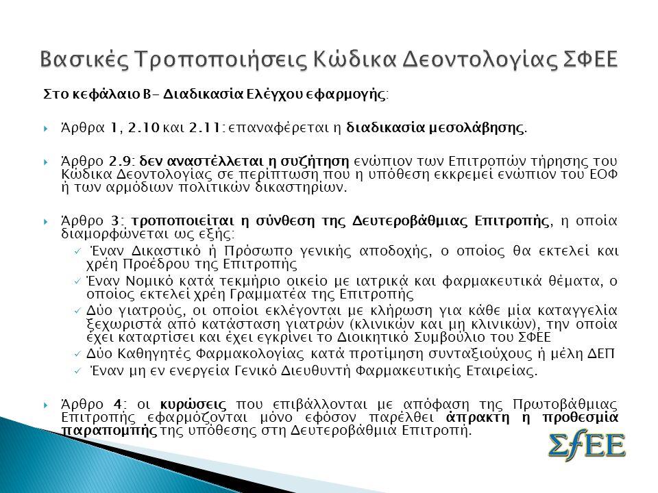 Στο κεφάλαιο Β- Διαδικασία Ελέγχου εφαρμογής:  Άρθρα 1, 2.10 και 2.11: επαναφέρεται η διαδικασία μεσολάβησης.