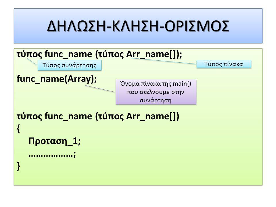 ΔΗΛΩΣΗ-ΚΛΗΣΗ-ΟΡΙΣΜΟΣΔΗΛΩΣΗ-ΚΛΗΣΗ-ΟΡΙΣΜΟΣ τύπος func_name (τύπος Arr_name[]); func_name(Array); τύπος func_name (τύπος Arr_name[]) { Προταση_1; ………………;