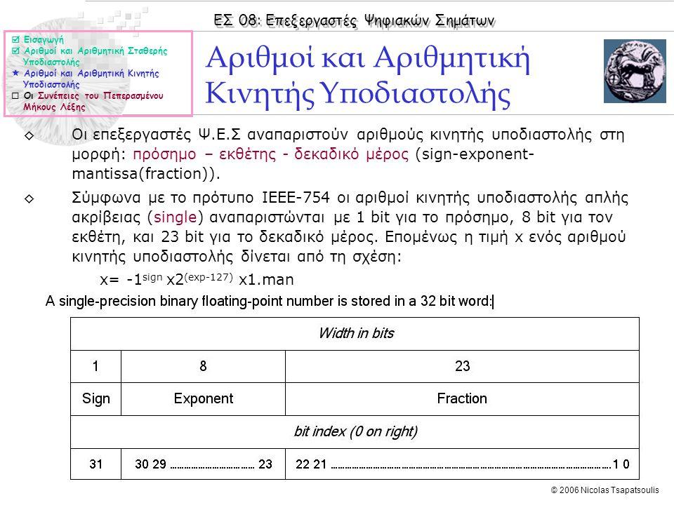 ΕΣ 08: Επεξεργαστές Ψηφιακών Σημάτων © 2006 Nicolas Tsapatsoulis ◊Οι επεξεργαστές Ψ.Ε.Σ αναπαριστούν αριθμούς κινητής υποδιαστολής στη μορφή: πρόσημο – εκθέτης - δεκαδικό μέρος (sign-exponent- mantissa(fraction)).