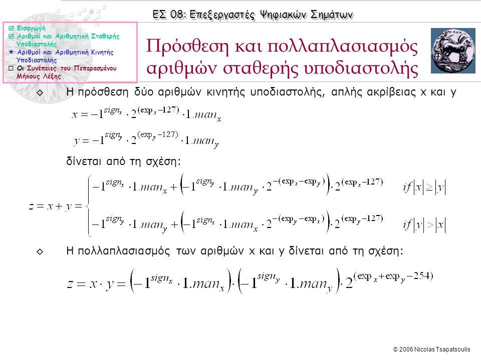 ΕΣ 08: Επεξεργαστές Ψηφιακών Σημάτων © 2006 Nicolas Tsapatsoulis ◊Η πρόσθεση δύο αριθμών κινητής υποδιαστολής, απλής ακρίβειας x και y δίνεται από τη σχέση: ◊Η πολλαπλασιασμός των αριθμών x και y δίνεται από τη σχέση: Πρόσθεση και πολλαπλασιασμός αριθμών σταθερής υποδιαστολής  Εισαγωγή  Αριθμοί και Αριθμητική Σταθερής Υποδιαστολής  Αριθμοί και Αριθμητική Κινητής Υποδιαστολής  Οι Συνέπειες του Πεπερασμένου Μήκους Λέξης
