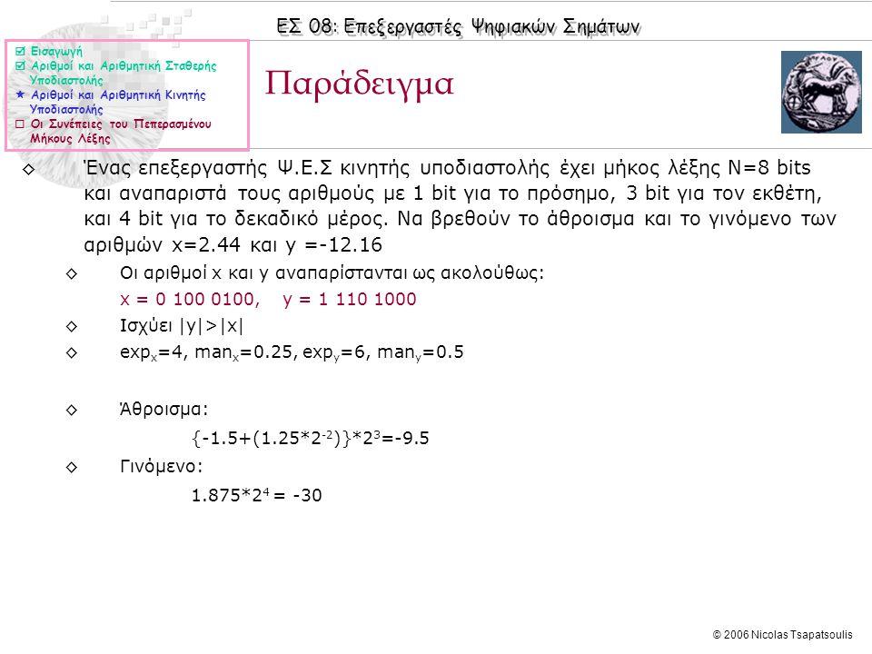 ΕΣ 08: Επεξεργαστές Ψηφιακών Σημάτων © 2006 Nicolas Tsapatsoulis ◊Ένας επεξεργαστής Ψ.Ε.Σ κινητής υποδιαστολής έχει μήκος λέξης Ν=8 bits και αναπαριστά τους αριθμούς με 1 bit για το πρόσημο, 3 bit για τον εκθέτη, και 4 bit για το δεκαδικό μέρος.