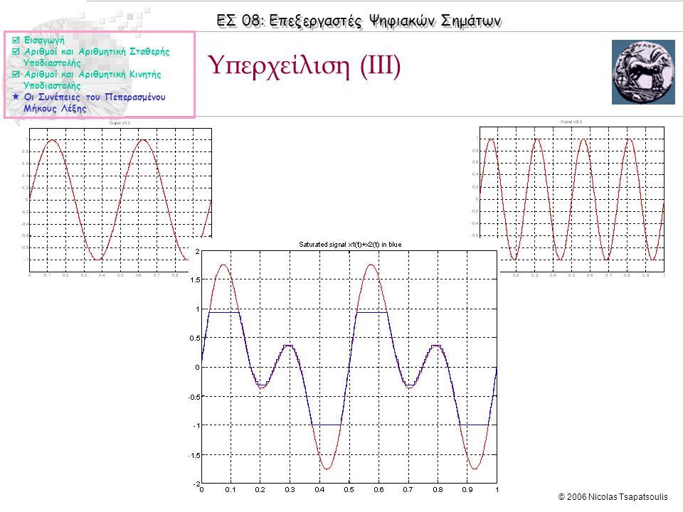 ΕΣ 08: Επεξεργαστές Ψηφιακών Σημάτων © 2006 Nicolas Tsapatsoulis Υπερχείλιση (ΙΙΙ)  Εισαγωγή  Αριθμοί και Αριθμητική Σταθερής Υποδιαστολής  Αριθμοί και Αριθμητική Κινητής Υποδιαστολής  Οι Συνέπειες του Πεπερασμένου Μήκους Λέξης