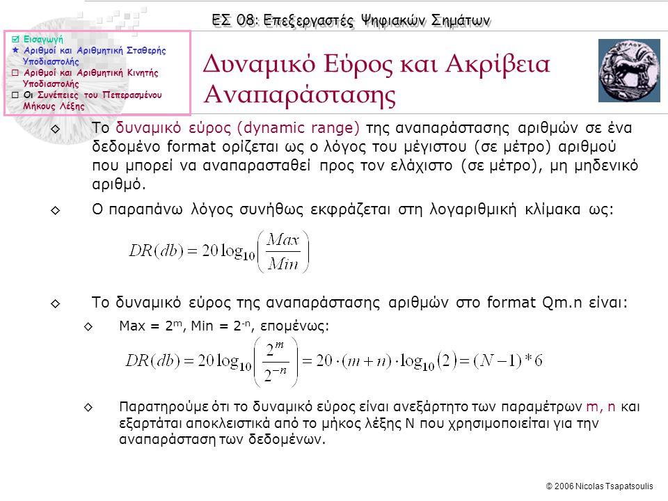 ΕΣ 08: Επεξεργαστές Ψηφιακών Σημάτων © 2006 Nicolas Tsapatsoulis Δυναμικό Εύρος και Ακρίβεια Αναπαράστασης  Εισαγωγή  Αριθμοί και Αριθμητική Σταθερής Υποδιαστολής  Αριθμοί και Αριθμητική Κινητής Υποδιαστολής  Οι Συνέπειες του Πεπερασμένου Μήκους Λέξης ◊Το δυναμικό εύρος (dynamic range) της αναπαράστασης αριθμών σε ένα δεδομένο format ορίζεται ως ο λόγος του μέγιστου (σε μέτρο) αριθμού που μπορεί να αναπαρασταθεί προς τον ελάχιστο (σε μέτρο), μη μηδενικό αριθμό.
