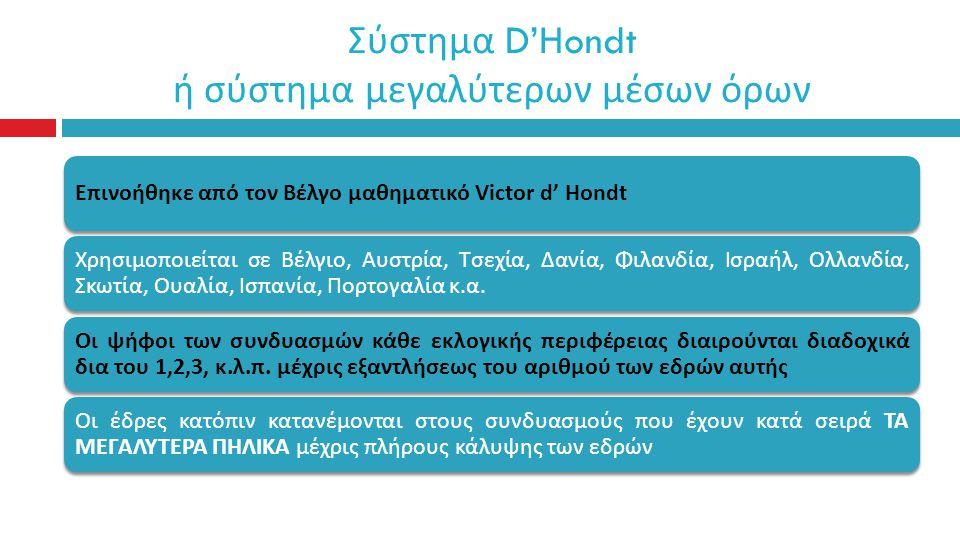Σύστημα D'Hondt ή σύστημα μεγαλύτερων μέσων όρων Ε π ινοήθηκε α π ό τον Βέλγο μαθηματικό Victor d' Hondt Χρησιμο π οιείται σε Βέλγιο, Αυστρία, Τσεχία, Δανία, Φιλανδία, Ισραήλ, Ολλανδία, Σκωτία, Ουαλία, Ισ π ανία, Πορτογαλία κ.