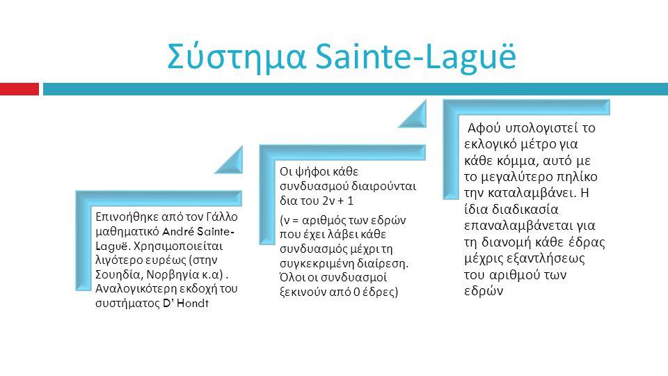 Σύστημα Sainte-Laguë Ε π ινοήθηκε α π ό τον Γάλλο μαθηματικό André Sainte- Laguë.