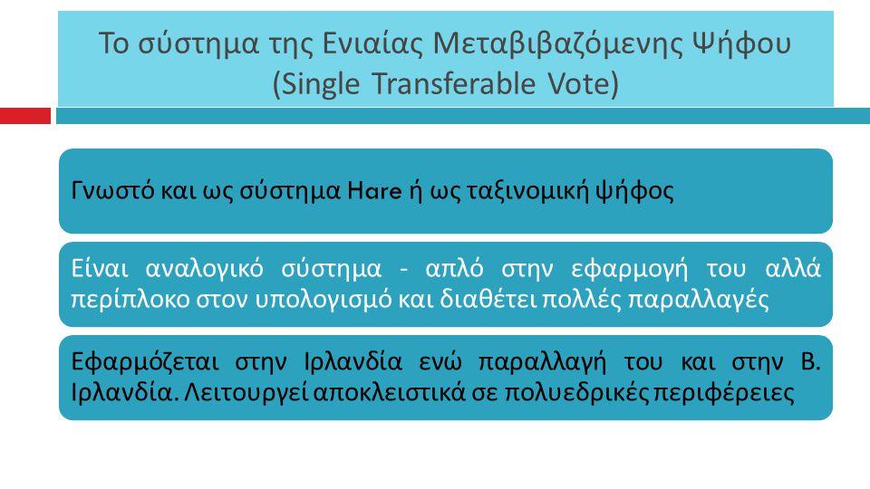 Το σύστημα της Ενιαίας Μεταβιβαζόμενης Ψήφου ( Single Transferable Vote) Γνωστό και ως σύστημα Hare ή ως ταξινομική ψήφος Είναι αναλογικό σύστημα - α π λό στην εφαρμογή του αλλά π ερί π λοκο στον υ π ολογισμό και διαθέτει π ολλές π αραλλαγές Εφαρμόζεται στην Ιρλανδία ενώ π αραλλαγή του και στην Β.