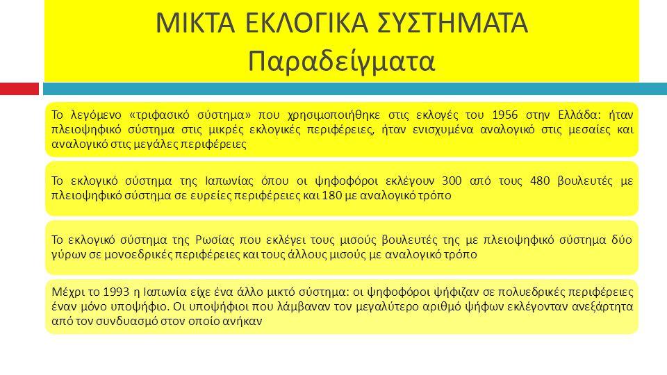 ΜΙΚΤΑ ΕΚΛΟΓΙΚΑ ΣΥΣΤΗΜΑΤΑ Παραδείγματα Το λεγόμενο « τριφασικό σύστημα » π ου χρησιμο π οιήθηκε στις εκλογές του 1956 στην Ελλάδα : ήταν π λειοψηφικό σύστημα στις μικρές εκλογικές π εριφέρειες, ήταν ενισχυμένα αναλογικό στις μεσαίες και αναλογικό στις μεγάλες π εριφέρειες Το εκλογικό σύστημα της Ια π ωνίας ό π ου οι ψηφοφόροι εκλέγουν 300 α π ό τους 480 βουλευτές με π λειοψηφικό σύστημα σε ευρείες π εριφέρειες και 180 με αναλογικό τρό π ο Το εκλογικό σύστημα της Ρωσίας π ου εκλέγει τους μισούς βουλευτές της με π λειοψηφικό σύστημα δύο γύρων σε μονοεδρικές π εριφέρειες και τους άλλους μισούς με αναλογικό τρό π ο Μέχρι το 1993 η Ια π ωνία είχε ένα άλλο μικτό σύστημα : οι ψηφοφόροι ψήφιζαν σε π ολυεδρικές π εριφέρειες έναν μόνο υ π οψήφιο.