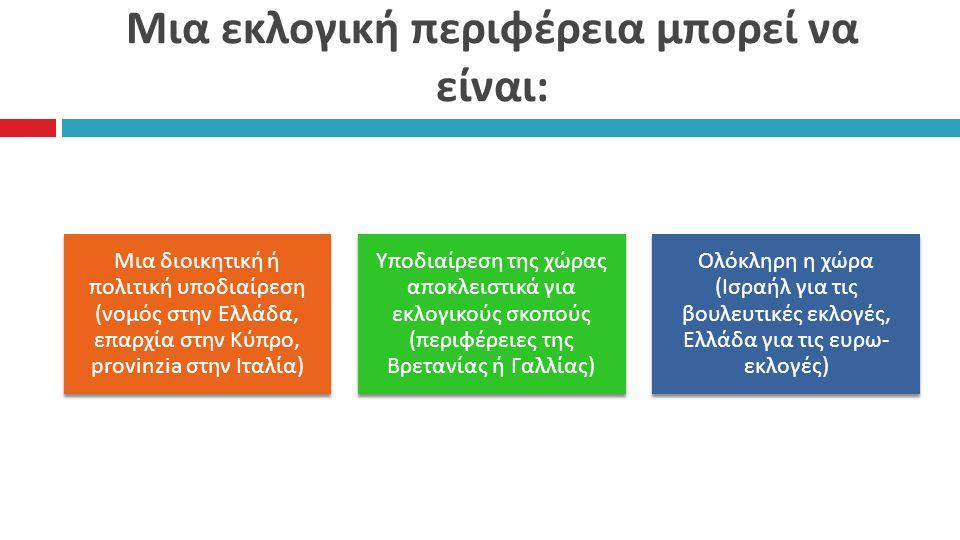 Μια εκλογική περιφέρεια μπορεί να είναι : Μια διοικητική ή π ολιτική υ π οδιαίρεση ( νομός στην Ελλάδα, ε π αρχία στην Κύ π ρο, provinzia στην Ιταλία ) Υ π οδιαίρεση της χώρας α π οκλειστικά για εκλογικούς σκο π ούς (π εριφέρειες της Βρετανίας ή Γαλλίας ) Ολόκληρη η χώρα ( Ισραήλ για τις βουλευτικές εκλογές, Ελλάδα για τις ευρω - εκλογές )