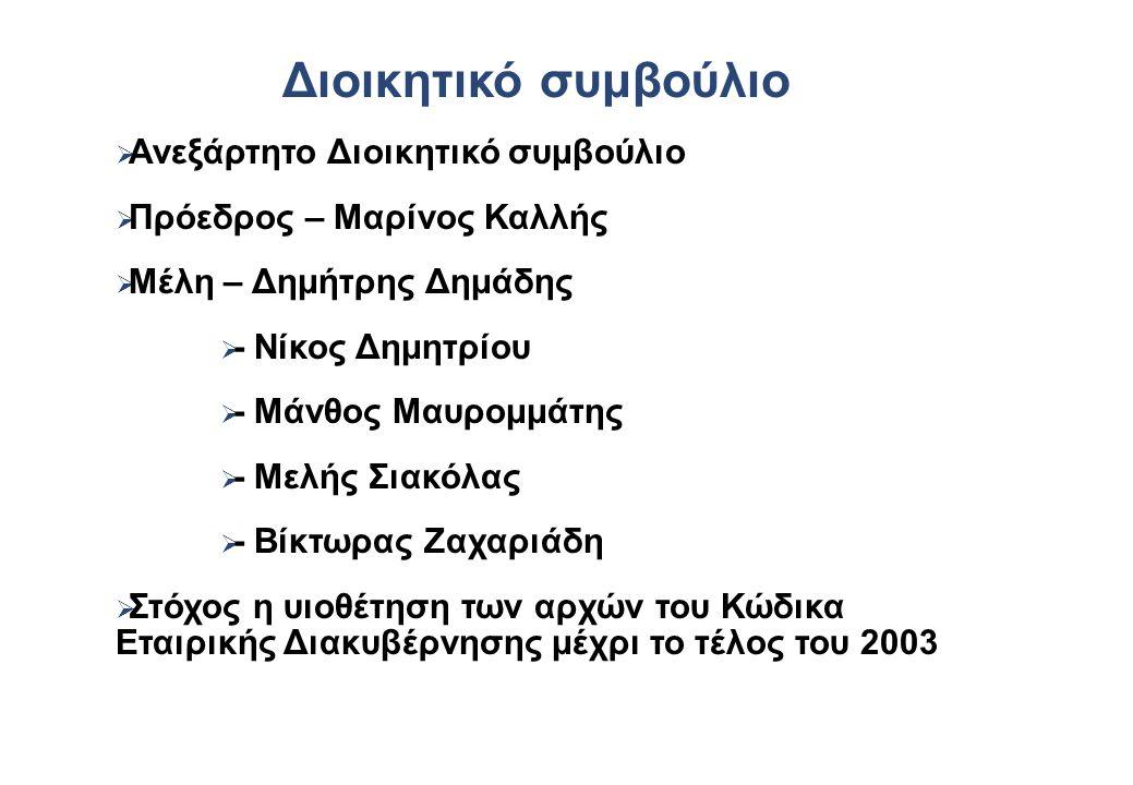 Διοικητικό συμβούλιο   Ανεξάρτητο Διοικητικό συμβούλιο   Πρόεδρος – Μαρίνος Καλλής   Μέλη – Δημήτρης Δημάδης   - Νίκος Δημητρίου   - Μάνθος Μαυρομμάτης   - Μελής Σιακόλας   - Βίκτωρας Ζαχαριάδη   Στόχος η υιοθέτηση των αρχών του Κώδικα Εταιρικής Διακυβέρνησης μέχρι το τέλος του 2003