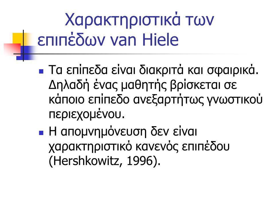 Χαρακτηριστικά των επιπέδων van Hiele Τα επίπεδα είναι διακριτά και σφαιρικά. Δηλαδή ένας μαθητής βρίσκεται σε κάποιο επίπεδο ανεξαρτήτως γνωστικού πε