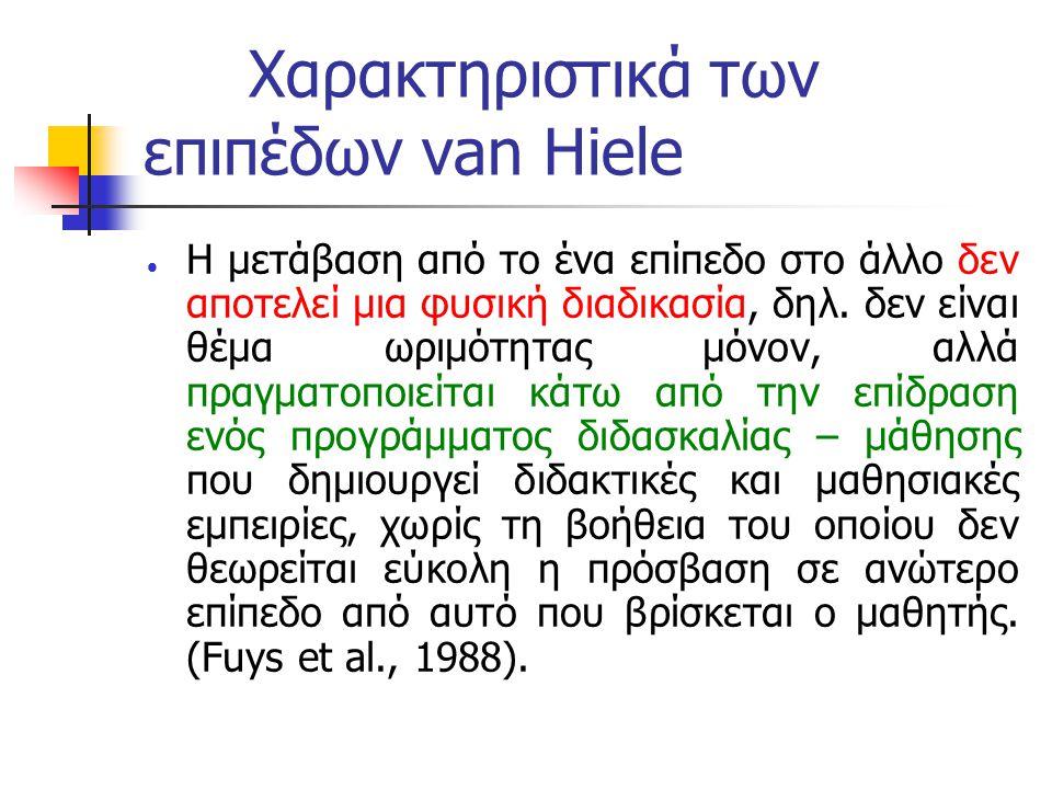 Χαρακτηριστικά των επιπέδων van Hiele  Η μετάβαση από το ένα επίπεδο στο άλλο δεν αποτελεί μια φυσική διαδικασία, δηλ. δεν είναι θέμα ωριμότητας μόνο