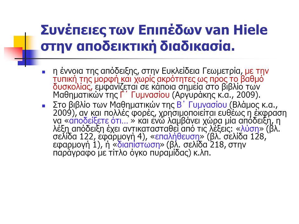 Συνέπειες των Επιπέδων van Hiele στην αποδεικτική διαδικασία. η έννοια της απόδειξης, στην Ευκλείδεια Γεωμετρία, με την τυπική της μορφή και χωρίς ακρ