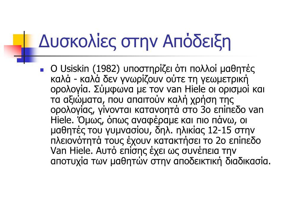 Δυσκολίες στην Απόδειξη Ο Usiskin (1982) υποστηρίζει ότι πολλοί μαθητές καλά - καλά δεν γνωρίζουν ούτε τη γεωμετρική ορολογία. Σύμφωνα με τον van Hiel