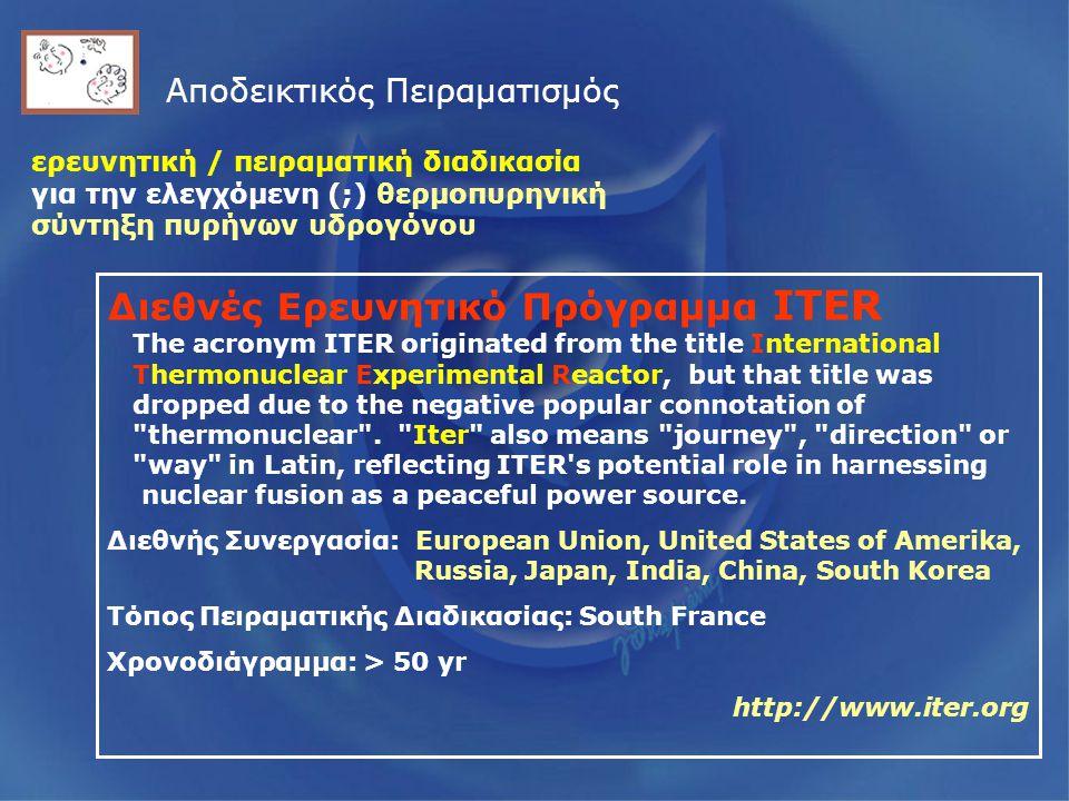 Αποδεικτικός Πειραματισμός Διεθνές Ερευνητικό Πρόγραμμα ITER The acronym ITER originated from the title International Thermonuclear Experimental Reactor, but that title was dropped due to the negative popular connotation of thermonuclear .