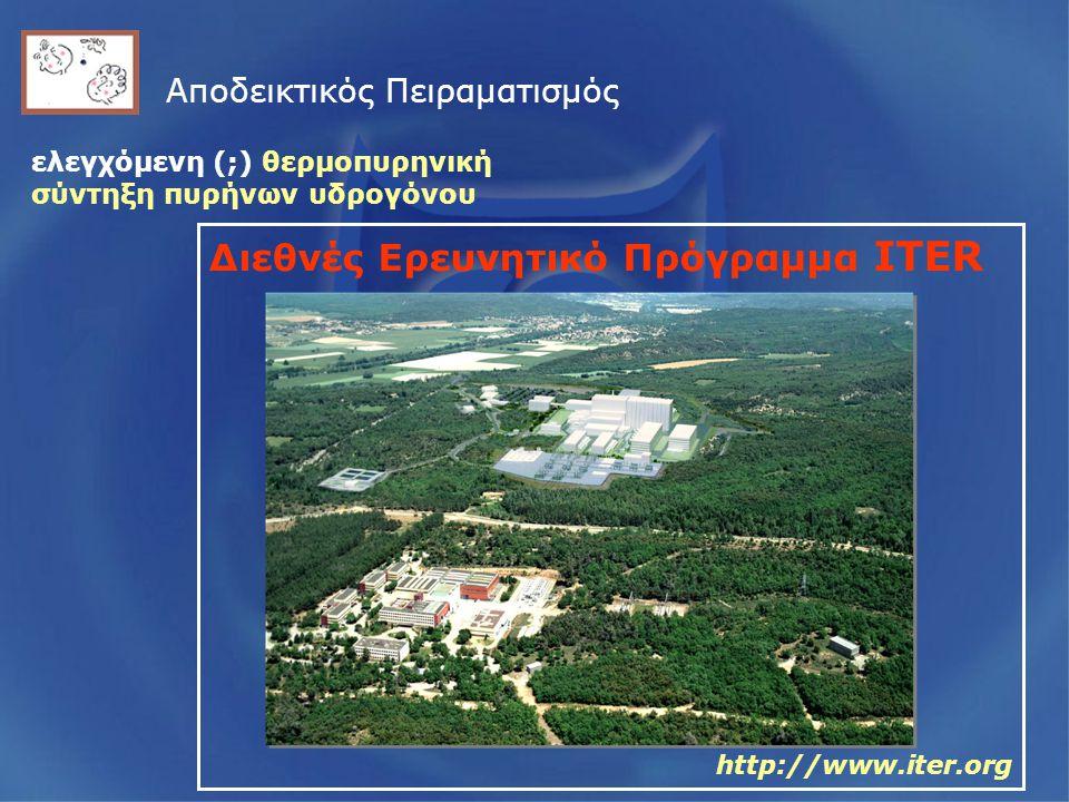 Αποδεικτικός Πειραματισμός Διεθνές Ερευνητικό Πρόγραμμα ITER http://www.iter.org ελεγχόμενη (;) θερμοπυρηνική σύντηξη πυρήνων υδρογόνου