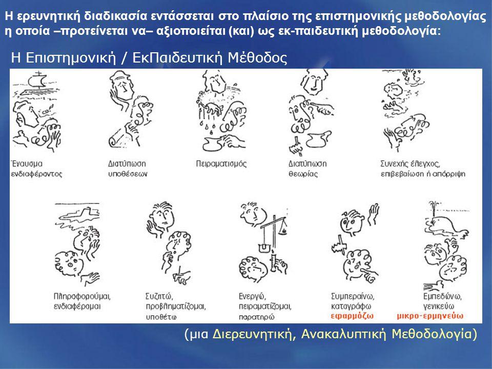 Η Επιστημονική / ΕκΠαιδευτική Μέθοδος (μια Διερευνητική, Ανακαλυπτική Μεθοδολογία) Η ερευνητική διαδικασία εντάσσεται στο πλαίσιο της επιστημονικής μεθοδολογίας η οποία –προτείνεται να– αξιοποιείται (και) ως εκ-παιδευτική μεθοδολογία: