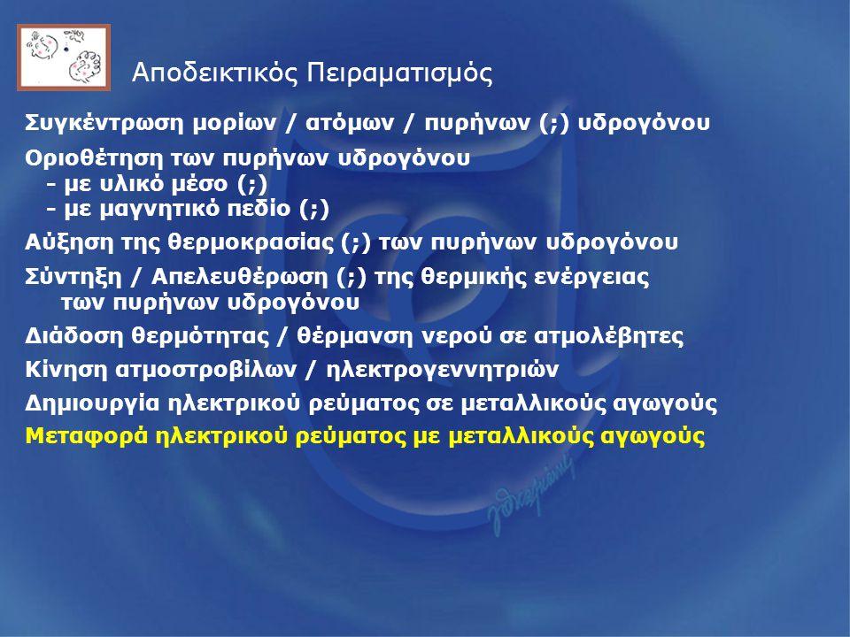 Αποδεικτικός Πειραματισμός Συγκέντρωση μορίων / ατόμων / πυρήνων (;) υδρογόνου Οριοθέτηση των πυρήνων υδρογόνου - με υλικό μέσο (;) - με μαγνητικό πεδίο (;) Αύξηση της θερμοκρασίας (;) των πυρήνων υδρογόνου Σύντηξη / Απελευθέρωση (;) της θερμικής ενέργειας των πυρήνων υδρογόνου Διάδοση θερμότητας / θέρμανση νερού σε ατμολέβητες Κίνηση ατμοστροβίλων / ηλεκτρογεννητριών Δημιουργία ηλεκτρικού ρεύματος σε μεταλλικούς αγωγούς Μεταφορά ηλεκτρικού ρεύματος με μεταλλικούς αγωγούς