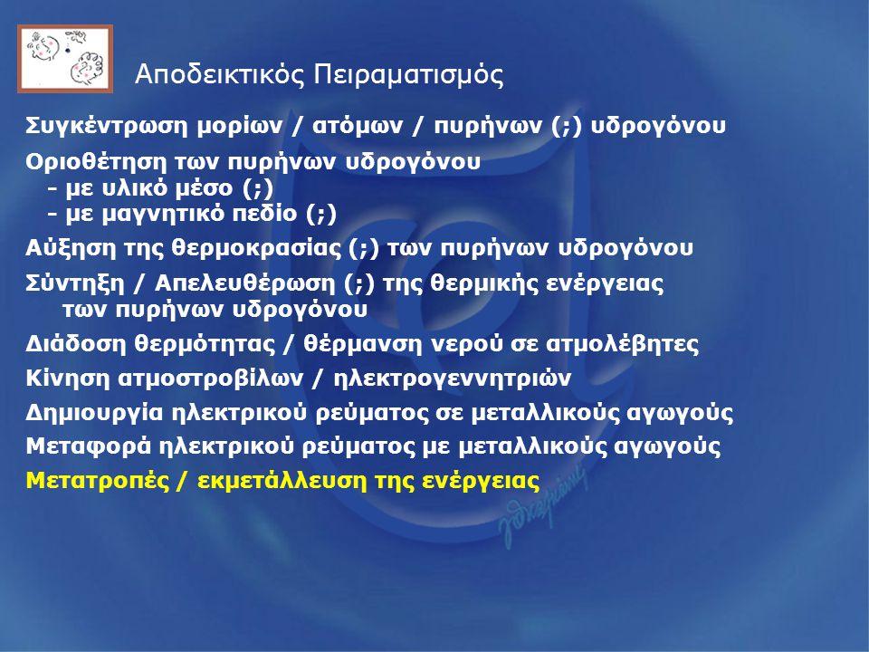 Αποδεικτικός Πειραματισμός Συγκέντρωση μορίων / ατόμων / πυρήνων (;) υδρογόνου Οριοθέτηση των πυρήνων υδρογόνου - με υλικό μέσο (;) - με μαγνητικό πεδίο (;) Αύξηση της θερμοκρασίας (;) των πυρήνων υδρογόνου Σύντηξη / Απελευθέρωση (;) της θερμικής ενέργειας των πυρήνων υδρογόνου Διάδοση θερμότητας / θέρμανση νερού σε ατμολέβητες Κίνηση ατμοστροβίλων / ηλεκτρογεννητριών Μετατροπές / εκμετάλλευση της ενέργειας Δημιουργία ηλεκτρικού ρεύματος σε μεταλλικούς αγωγούς Μεταφορά ηλεκτρικού ρεύματος με μεταλλικούς αγωγούς
