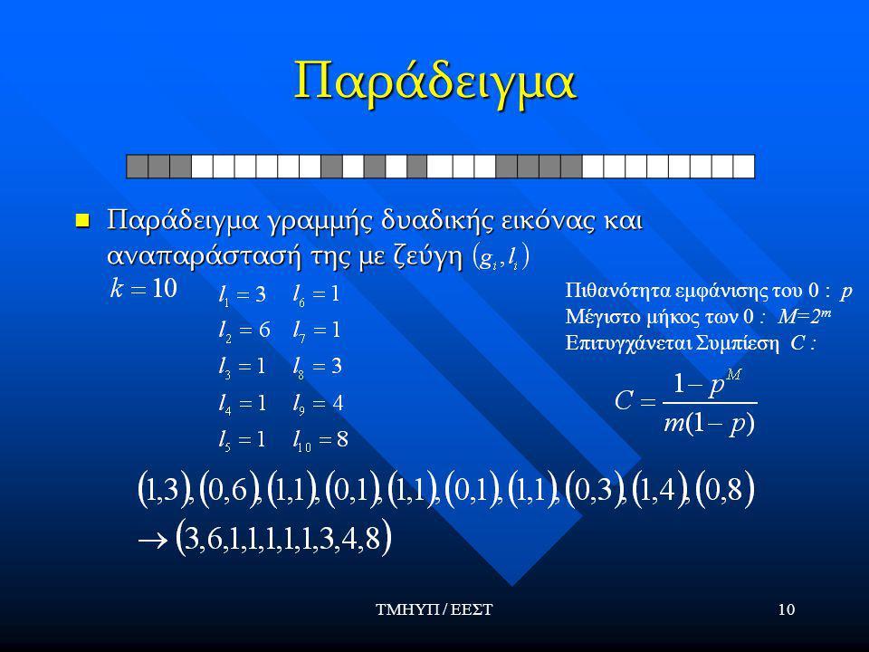 ΤΜΗΥΠ / ΕΕΣΤ10 Παράδειγμα Παράδειγμα γραμμής δυαδικής εικόνας και αναπαράστασή της με ζεύγη Παράδειγμα γραμμής δυαδικής εικόνας και αναπαράστασή της με ζεύγη Πιθανότητα εμφάνισης του 0 : p Μέγιστο μήκος των 0 : M=2 m Επιτυγχάνεται Συμπίεση C :