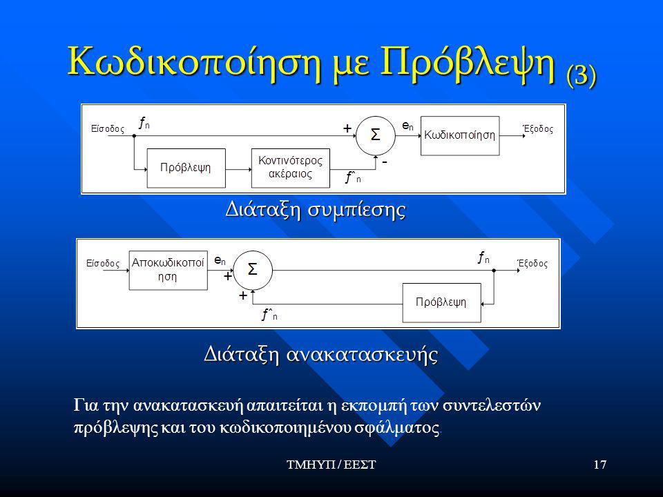 ΤΜΗΥΠ / ΕΕΣΤ17 Κωδικοποίηση με Πρόβλεψη (3) Διάταξη συμπίεσης Διάταξη ανακατασκευής Για την ανακατασκευή απαιτείται η εκπομπή των συντελεστών πρόβλεψης και του κωδικοποιημένου σφάλματος.