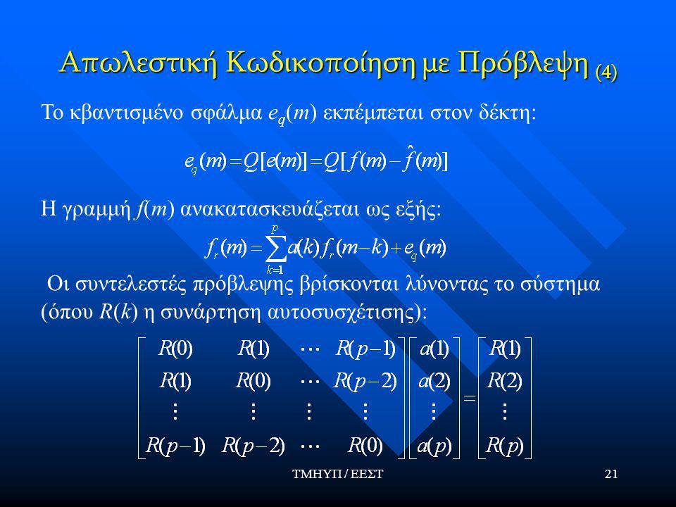 ΤΜΗΥΠ / ΕΕΣΤ21 Απωλεστική Κωδικοποίηση με Πρόβλεψη (4) Το κβαντισμένο σφάλμα e q (m) εκπέμπεται στον δέκτη: Η γραμμή f(m) ανακατασκευάζεται ως εξής: Οι συντελεστές πρόβλεψης βρίσκονται λύνοντας το σύστημα (όπου R(k) η συνάρτηση αυτοσυσχέτισης):