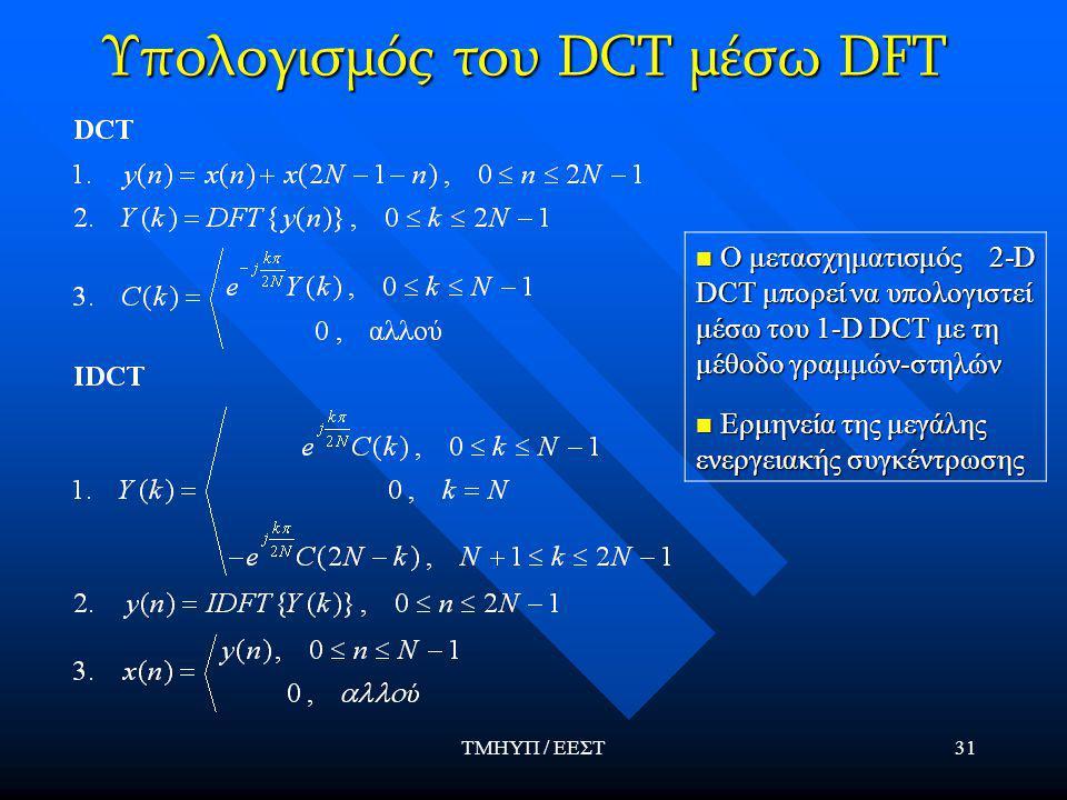ΤΜΗΥΠ / ΕΕΣΤ31 Υπολογισμός του DCT μέσω DFT Ο μετασχηματισμός 2-D DCT μπορεί να υπολογιστεί μέσω του 1-D DCT με τη μέθοδο γραμμών-στηλών Ο μετασχηματισμός 2-D DCT μπορεί να υπολογιστεί μέσω του 1-D DCT με τη μέθοδο γραμμών-στηλών Ερμηνεία της μεγάλης ενεργειακής συγκέντρωσης Ερμηνεία της μεγάλης ενεργειακής συγκέντρωσης