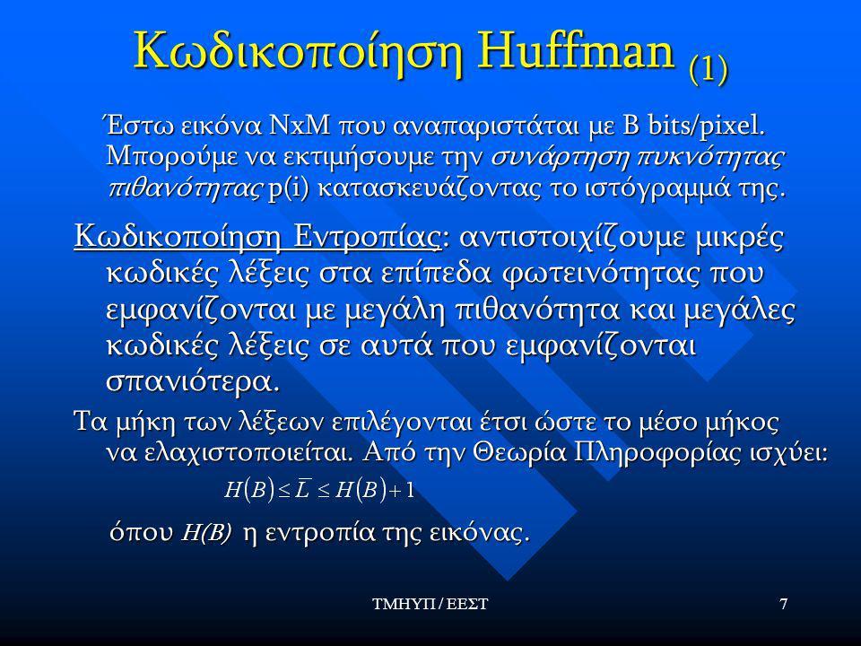ΤΜΗΥΠ / ΕΕΣΤ7 Κωδικοποίηση Huffman (1) Έστω εικόνα ΝxΜ που αναπαριστάται με Β bits/pixel.