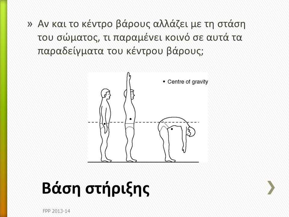 » Αν και το κέντρο βάρους αλλάζει με τη στάση του σώματος, τι παραμένει κοινό σε αυτά τα παραδείγματα του κέντρου βάρους; Βάση στήριξης FPP 2013-14