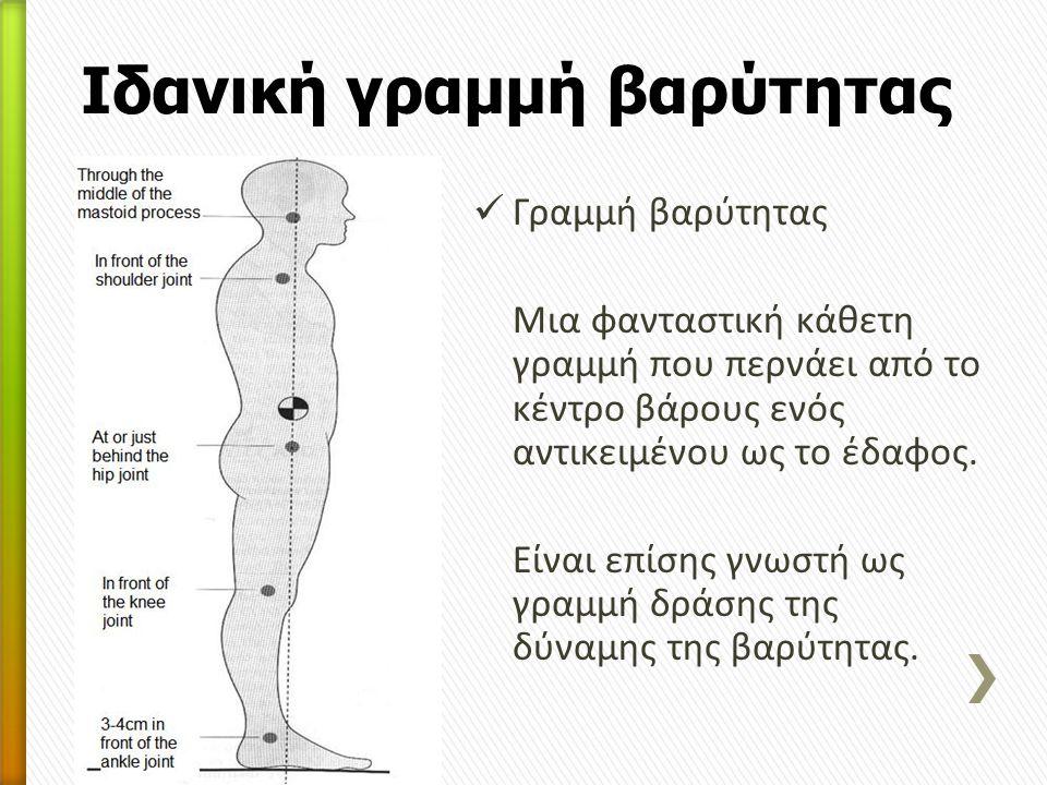 Γραμμή βαρύτητας Μια φανταστική κάθετη γραμμή που περνάει από το κέντρο βάρους ενός αντικειμένου ως το έδαφος. Είναι επίσης γνωστή ως γραμμή δράσης τη