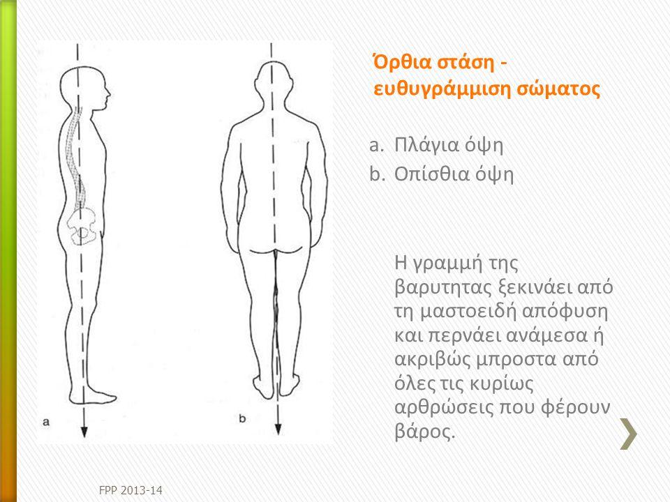Όρθια στάση - ευθυγράμμιση σώματος a.Πλάγια όψη b.Οπίσθια όψη Η γραμμή της βαρυτητας ξεκινάει από τη μαστοειδή απόφυση και περνάει ανάμεσα ή ακριβώς μ