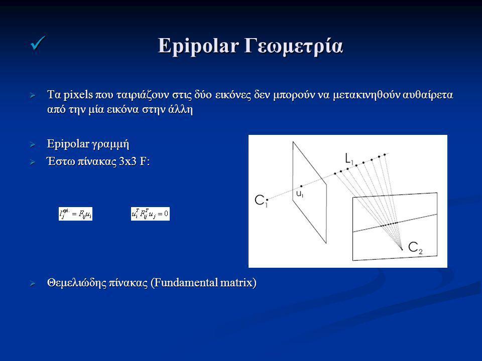 Epipolar Γεωμετρία Epipolar Γεωμετρία  Τα pixels που ταιριάζουν στις δύο εικόνες δεν μπορούν να μετακινηθούν αυθαίρετα από την μία εικόνα στην άλλη  Epipolar γραμμή  Έστω πίνακας 3x3 F:  Θεμελιώδης πίνακας (Fundamental matrix)