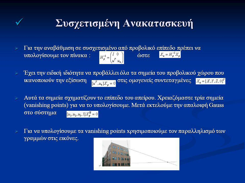 Συσχετισμένη Ανακατασκευή Συσχετισμένη Ανακατασκευή  Για την αναβάθμιση σε συσχετισμένο από προβολικό επίπεδο πρέπει να υπολογίσουμε τον πίνακα :ώστε  Έχει την ειδική ιδιότητα να προβάλλει όλα τα σημεία του προβολικού χώρου που ικανοποιούν την εξίσωση στις ομογενείς συντεταγμένες  Αυτά τα σημεία σχηματίζουν το επίπεδο του απείρου.