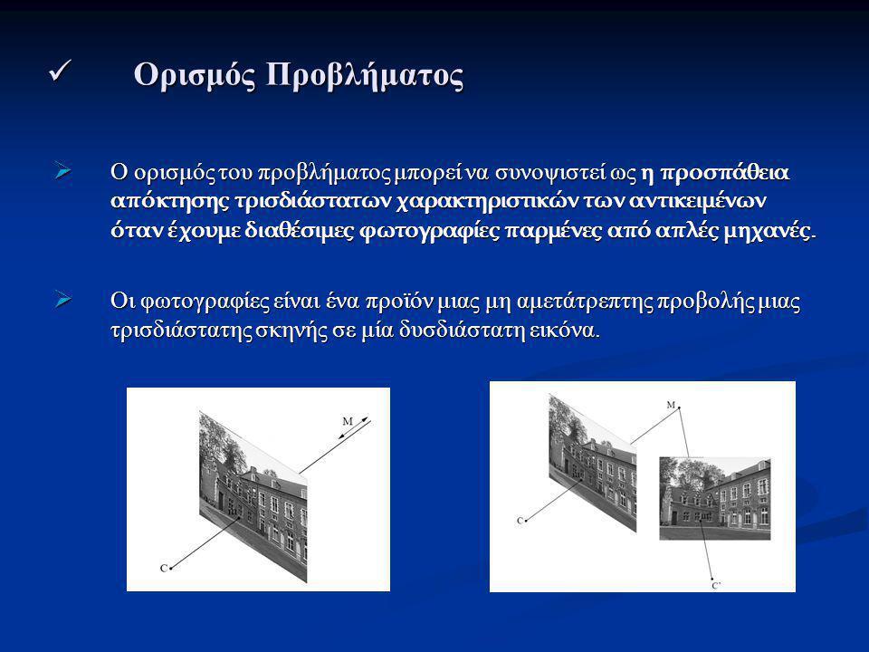 Ορισμός Προβλήματος Ορισμός Προβλήματος  Ο ορισμός του προβλήματος μπορεί να συνοψιστεί ως η προσπάθεια απόκτησης τρισδιάστατων χαρακτηριστικών των αντικειμένων όταν έχουμε διαθέσιμες φωτογραφίες παρμένες από απλές μηχανές.